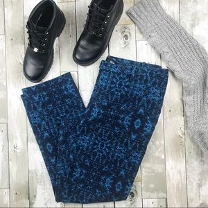 MOSSIMO Black Blue Printed Cropped Ankle Pants 12